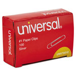 Universal Smooth Finish Paper Clips, No. 1, Silver