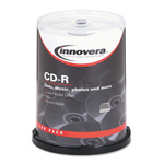 Universal CD-R Discs, Hub Printable, 700MB/80min, 52x, Spindle, Matte White, 100/Pack