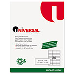 Universal Laser Printer Permanent Labels, Recycled, 2-5/8 x 1, White