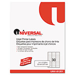 Universal Inkjet Printer Labels, 2-5/8 x 1, Clear, 30 Labels per Sheet, 750 per Pack