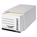 Universal Heavy-Duty Storage Box Drawer, Letter, 12 1/2 x 24 x 10 1/4, White, 6/Carton