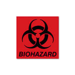 Rubbermaid Biohazard Decal, 6 x 5-3/4, Fluorescent Red