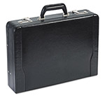 Solo Expandable Laptop Attaché, Leather, 18 x 4 x 13, Black