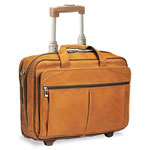 Solo D529-1 Rolling Notebook Computer Case, Full Grain Leather, 18 x 8 1/2 x 14, Tan