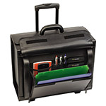 Solo Rolling Catalog/Computer Case, Leather, Black