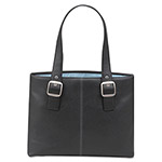 "Solo Classic Collection 15.4"" Laptop Tote, Pebble-Grain Vinyl, Black/Blue"
