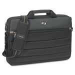 "Solo Laptop Slim Briefcase, 15-3/4"" x 2"" x 11"", Black/Tan"