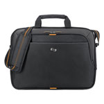 "Solo Slim Laptop Brief, Holds 15.6"", 16"" x 2"" x 11-3/4"", BK/Orange"