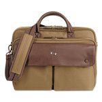 "Solo Executive Briefcase, 15.6"", 15 1/2 x 1 7/8 x 15 1/4, Khaki/Brown"