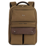 "Solo Executive Laptop Backpack, 15.6"", 11 1/2 x 4 1/4 x 18 1/8, Khaki/Brown"