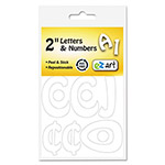 "U.S. Stamp & Sign Self-Adhesive Caps & Numbers, Hobo, White, 2"", 12 per Pack"