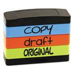 U.S. Stamp & Sign Stack Stamp, COPY, DRAFT, ORIGINAL, 1 13/16 x 5/8, Assorted Fluorescent Ink