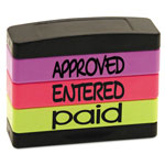 U.S. Stamp & Sign Stack Stamp, APPROVED, ENTERED, PAID, 1 13/16 x 5/8, Assorted Fluorescent Ink