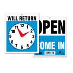 "U.S. Stamp & Sign Will Return Sign, w/ Clock Hands, 7-1/2""x9"", Blue/Black/Red"