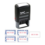U.S. Stamp & Sign Economy 5-in-1 Date Stamp, Self-Inking, 1 x 1 5/8, Blue/Red