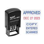 U.S. Stamp & Sign Economy 5-in-1 Micro Date Stamp, Self-Inking, 3/4 x 1, Blue/Red