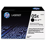 HP 05X Black Toner Cartridge, Model CE505X, Page Yield 6500