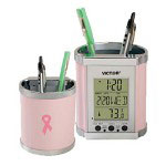 "Victor ""Smart Cup"" Pencil Holder with Electronic DisplayPink and Chrome"