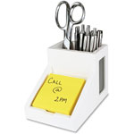 "Victor Pencil Cup, w/Note Holder, 4"" x 4-3/10"" x 4-1/2"", White"