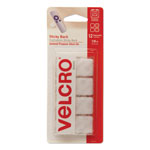 "Velcro Hook & Loop Fastener 7/8"" Squares in Strips, White, 12 Sets/Pack"