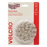 "Velcro Hook & Loop 5/8"" Dot Rolls in Plastic Dispenser, White, 75 Sets/Pack"