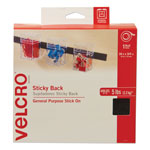 "Velcro Sticky Back® Hook & Loop Fastener Roll in Dispenser Box, 3/4"" x 30 ft., Black"