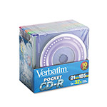Verbatim Mini Pocket CD R Recordable Discs, 185MB/21MIN, Branded, 10/Pack
