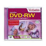 Verbatim DVD RW Rewritable Disc with Jewel Case, 4.7 GB, Pearl, Single Disc