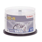 Verbatim CD Recordable Discs, 52x, 700MB/80Min, Branded, Spindle, Silver, 50/Pack