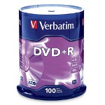 Verbatim DVD+R Recordable Discs, 4.7GB, 100 per Spindle Pack
