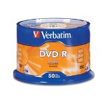 Verbatim DVD R Recordable Discs on Spindle, 4.7 GB, Matte Silver