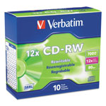 Verbatim CD RW Rewritable Discs, Branded Surface, 700MB/80Min, 12x, 10/Pack, Silver