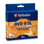 Verbatim DVD R, Dual Layer, 8.5GB, 4X, Branded, 3 Pack/Jewel Case