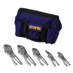 Vise Grip 5 Piece Locking Pliers Set in a Canvas Tool Tote Bag