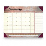 "Visual Organizers Monthly Desk Pad Calendar, 22"" x 17"", Marbleized Burgundy"