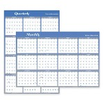 Visual Organizers Write On/Wipe Off Reversible Yearly Dated Wall Organizer, Month/Quarter, 36 x 24