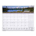"Visual Organizers Monthly Desk Cal, Scenic Photos, 4 Clear Corner Binding, 22""x17"