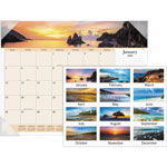 "Visual Organizers Monthly Desk Cal, Sea Images, 4 Clear Corner Binding, 22""x17"