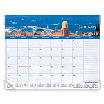 "Visual Organizers Mtly Desk Cal, 1 Year, Harbor Scenes, Lined Note Area, 22"" x 17"""
