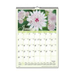 "Visual Organizers Mtly Wall Cal, Flower Scenes, 15-1/2""x22-3/4"", White Hanger"