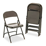 Virco Metal Folding Chairs, Mocha, 4 Per Carton