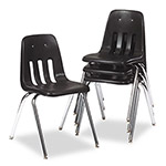 Virco 9000 Series Classroom Chair, Black/Chrome Frame, 4 per Case