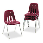 "Virco 9000 Series Classroom Chair, 18"" Seat Height, Wine/Chrome, 4/Carton"