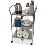 Vertiflex Products Click-N-Fold Dual Handle Service Cart, 23 1/4w x 18d x 26 1/4h, Chrome