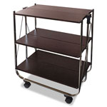 Vertiflex Products Click-N-Fold Utility Cart, 26 3/4w x 15 3/4d x 31 1/2h, Chrome/Brown