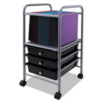 Vertiflex Products Slim Profile Mobile File Cart, 13w x 15 3/4d x 26 1/4h, Black/Matte Gray
