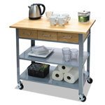 "Vertiflex Products Countertop Serving Cart, 35 1/2"" x 19 3/4"" x 34 1/4"", Silver/Brown"