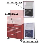 "Waterloo 40"" 12 Drawer Tool Cart, TRAXX Series, Red"