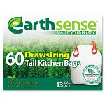 Webster Webster EarthSense White Trash Bags, 13 Gallon, Box of 60