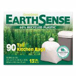 "Webster Webster EarthSense White Trash Bags, 13 Gallon, 0.8 Mil, 23.5"" X 29"", Box of 90"